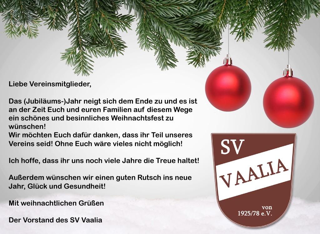 Besinnliche Weihnachten Und Einen Guten Rutsch Ins Neue Jahr.Der Sv Vaalia Vaale Wünscht Allen Frohe Weihnachten Und Einen Guten